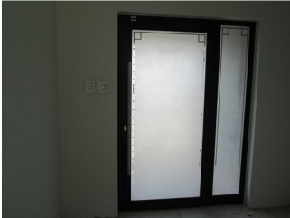 Sandblasting glass and aluminium door